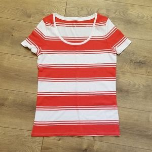 Merona Ultimate Tee Coral & White Stripes {Large}
